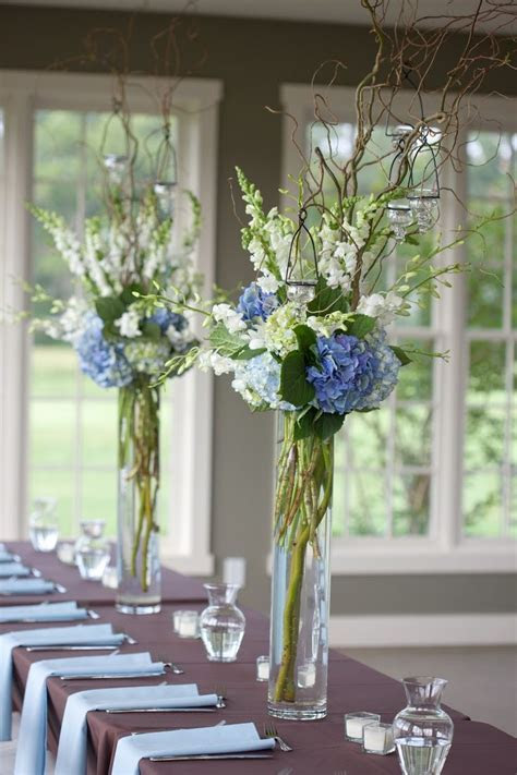 Blue And White Wedding Decorations In Reception Flowers