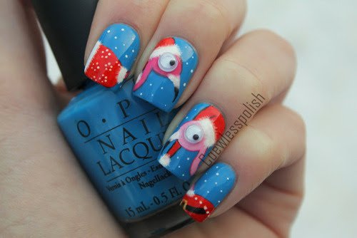 Ugly flamingo sweater nails on Flickr.With rolling 3D eyes. I love how these turned out! www.coewlesspolish.wordpress.com