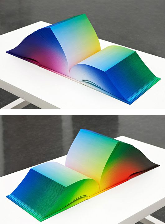 RGB Colorspace Atlas by Tauba Auerbach. The book displays the full RGB gradient in 3,632 pages.