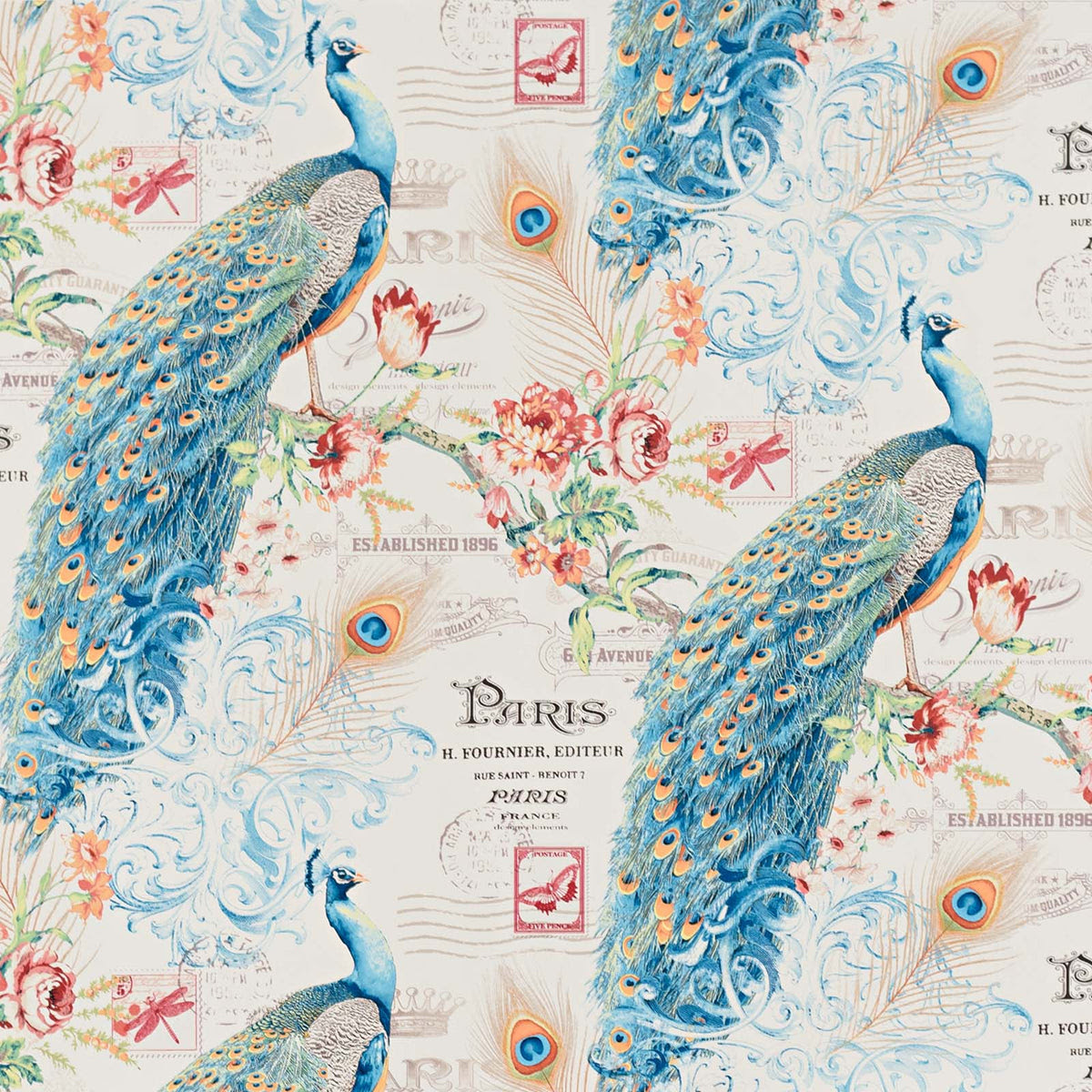 Peacock Wallpaper Paris French letter butterfly stamp ...
