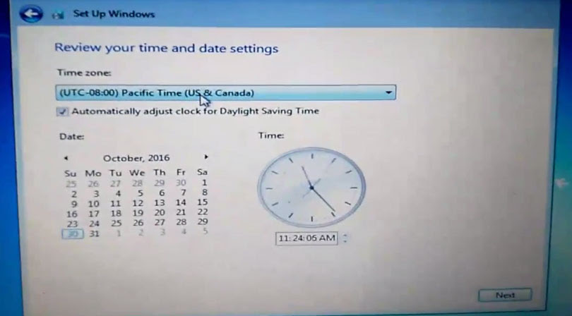 Set windows date and time