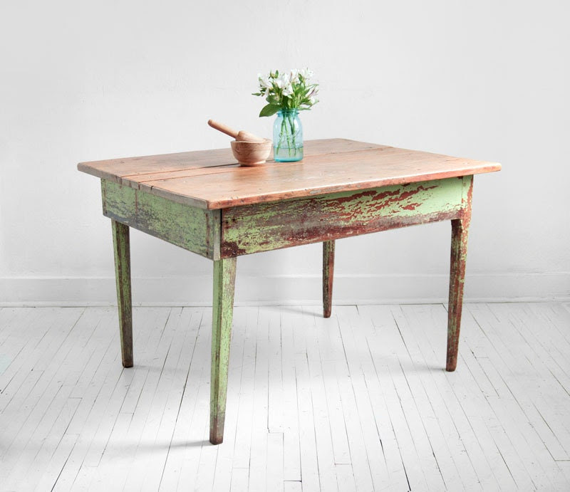 Vintage Wood Farm Dining Table - Mid Century, Modern, Rustic, Shabby Chic