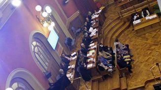 Imatge de la vista que s'ha fet aquest matí a l'Audiència de Barcelona, on s'ha decidit que no hi hagi judici arran del pacte entre les diferents parts