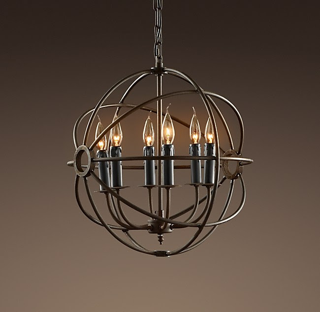 Foucault's Iron Orb Chandelier Small