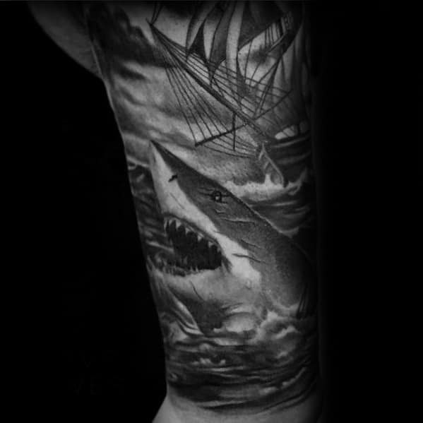30 Shark Tattoo Sleeve Designs For Men Marine Life Ink Ideas
