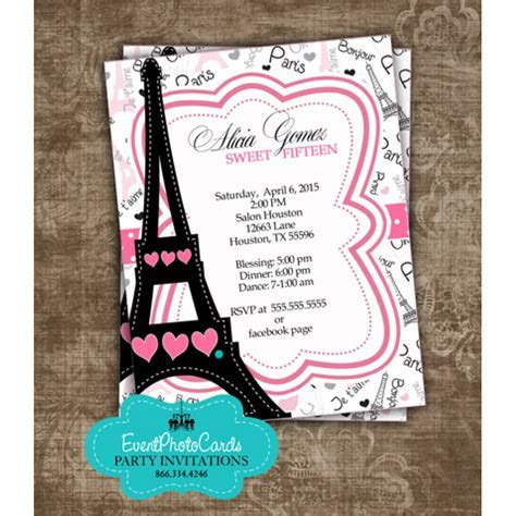 Paris Themed Sweet Fifteen, Customized & Personalized Pink