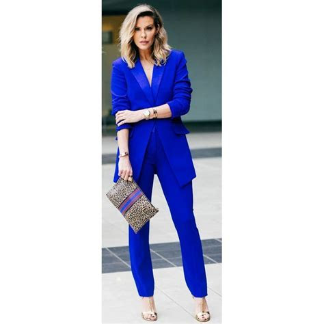 New Royal blue 2 piece set women business suits slim fit