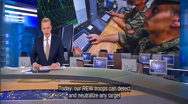 A newsreader introducing the feature claimed Moscow's 'Russian Electronic Warfare' troops can 'detect and neutralise any target'