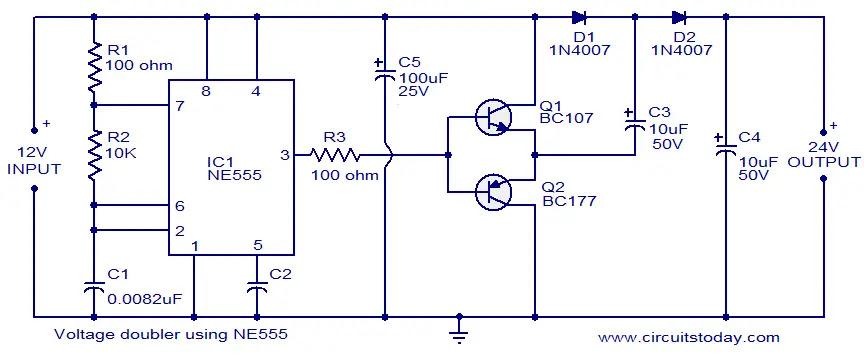 voltage doubler using NE555 timer