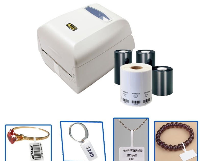 Perfect Jewelry tag printing solution 300DPI barcode printer machine with  ribbon and jewerry tag free template of label size  fce316d11