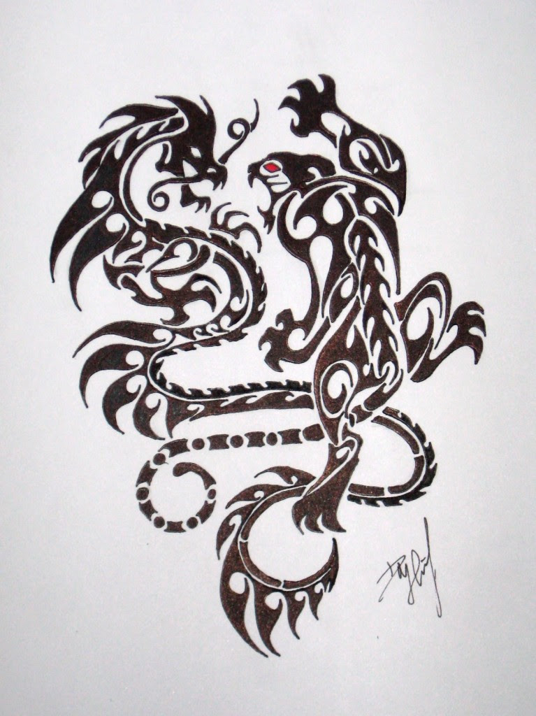 Crouching Indian Tiger Hidden Chinese Dragon Sketch Tattoomagz