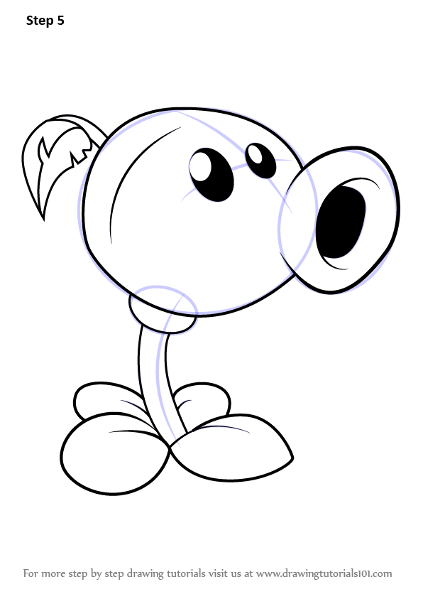 how to draw Peashooter from Plants vs Zombies step 5
