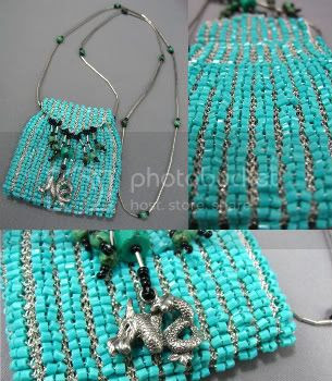 Turquoise Amulet Bag by Le Beadoir