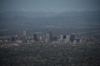 Denver Sunrise Aerial 7 min before sunrise