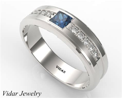 Three Stone Diamond Blue Sapphire Wedding Band For Mens