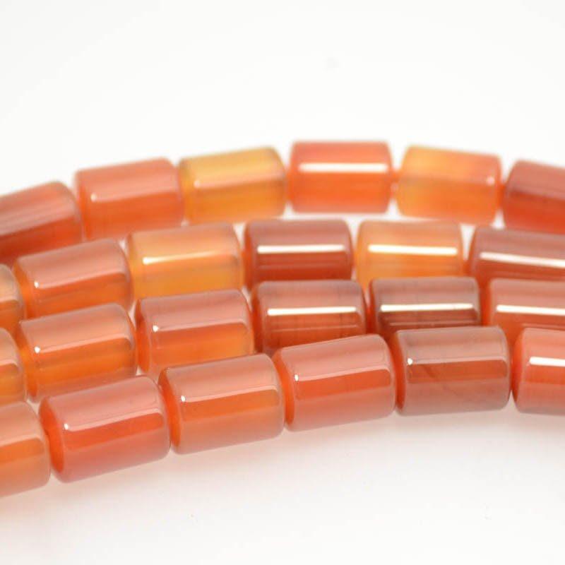 s38341 Stone Beads - 10 x 14 mm Barrel Tube (2 mm Hole) - Carnelian (1)