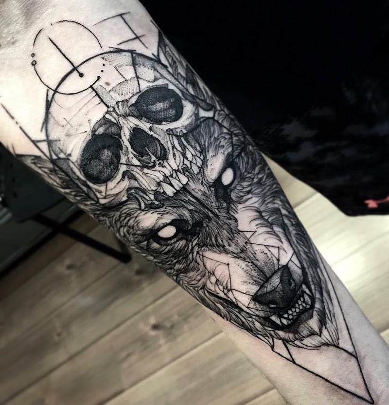 Sketch Wolf Skull Best Tattoo Design Ideas