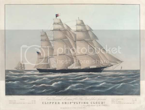 clipper sailing ship at sea