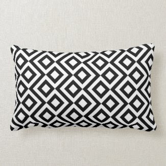 Black and White Meander Throw Pillow