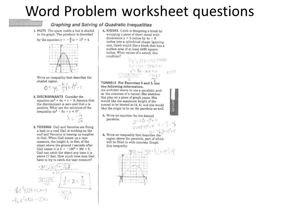 Word Problem worksheet questions  ppt video online download