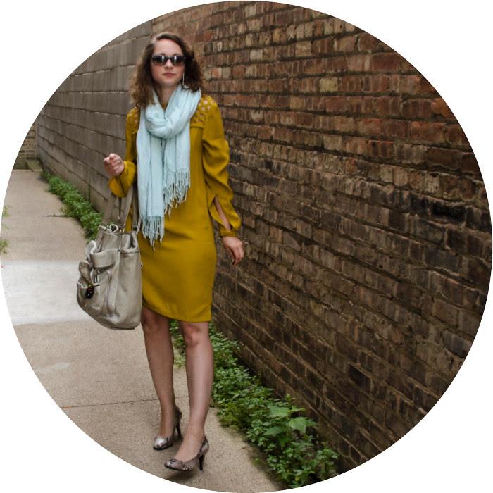 dash dot dotty, diane von furstenberg mustard dress, lattice dress, dvf silk dress, turquoise and mustard, merona maye pumps, snakeskin pumps, what to wear to work, wearing color to work, ootd, style blog