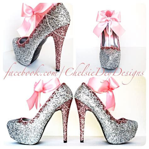glitter high heels pink  silver pumps bubblegum
