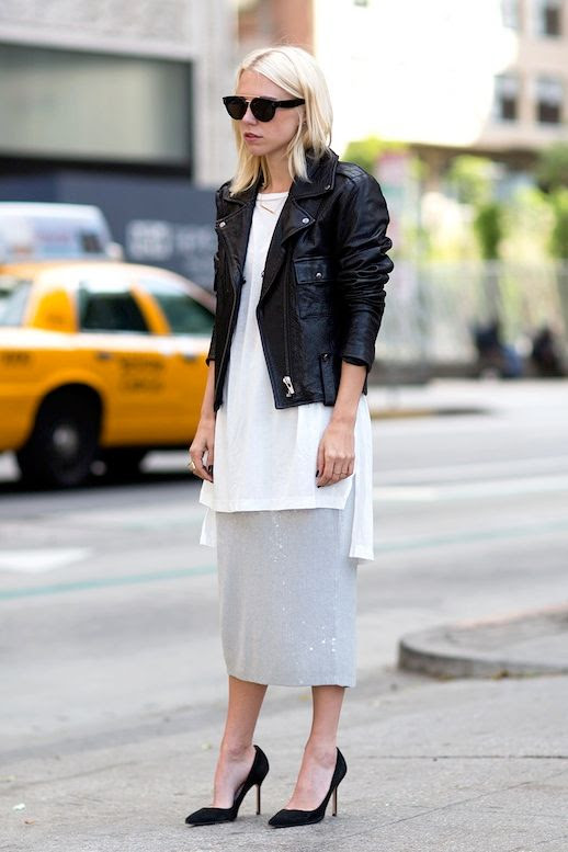 Le Fashion Blog Blogger Summer Style Sunglasses Leather Moto Jacket Long White Tunic Top Sequin Midi Skirt Black Pumps Via Always Judging