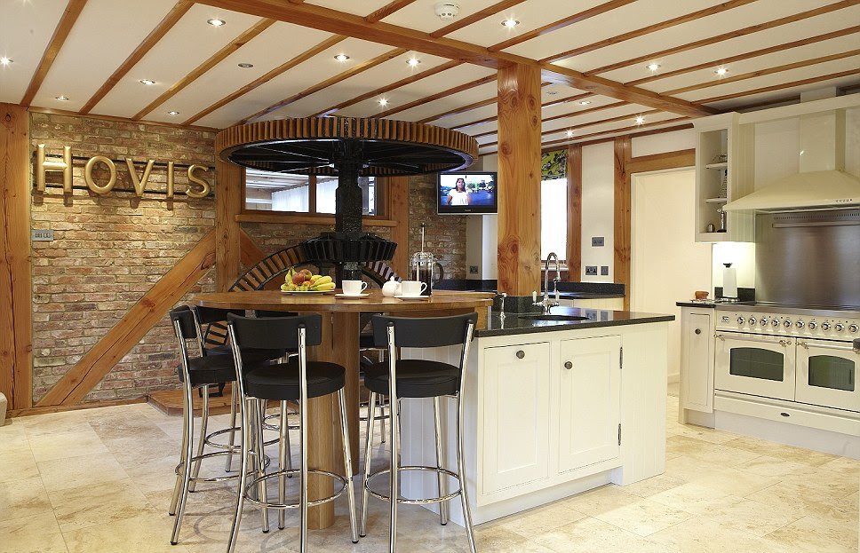 Although it has a modern finish the kitchen at Tempsford Mill still has original features from its former days as a mill