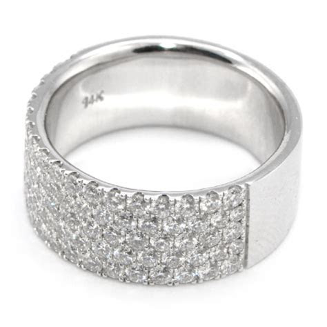Wide White Gold Anniversary Band   Pave Diamonds   Wixon
