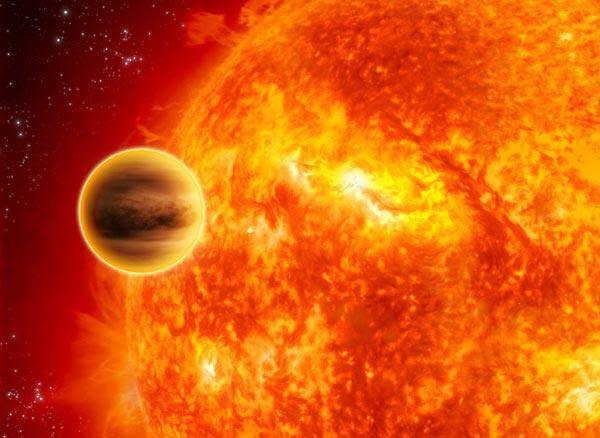 Um Júpiter quente orbitando sua estrela mãe (Ilustração: ESA/C Carreau)