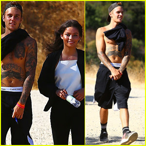 Justin Bieber Goes Shirtless on Hike with Female Friend