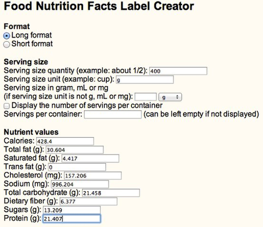 all about nutrition  nutrition fact label maker