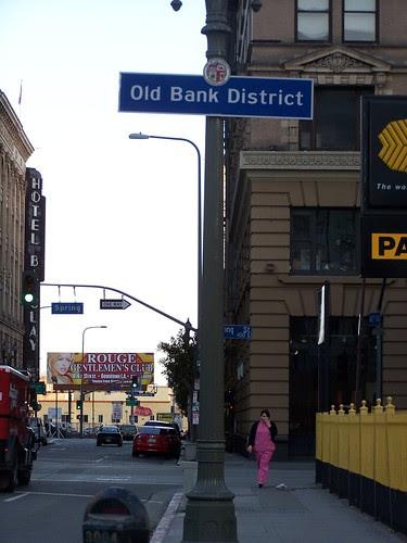 Old Bank District neighborhood sign