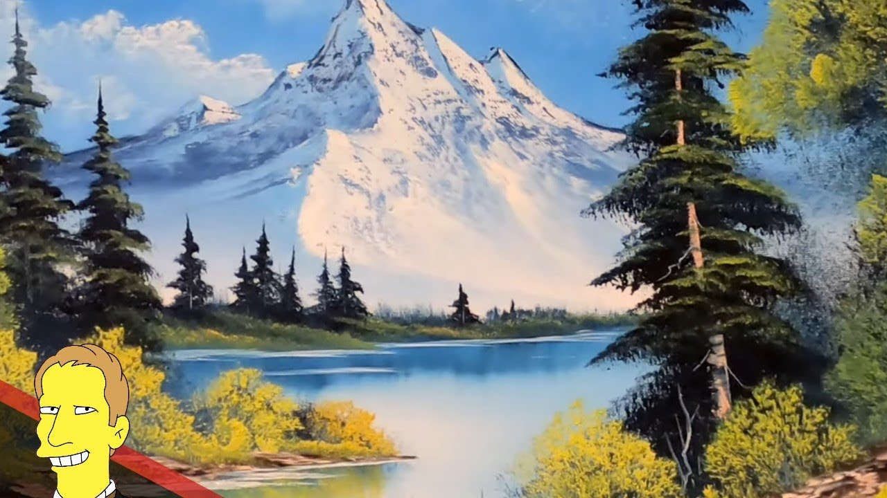 Close up of Bob Ross oil painting of landscape with mountains trees and lakee