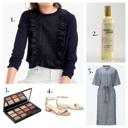 J.Crew Top - Lucero Vinegar - NARS Eyeshadow - M.Gemi Sandals - Uniqlo Shirt Dress