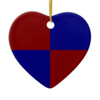 Dark Red and Blue Rectangles Christmas Tree Ornament