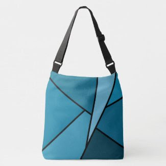 Modern All-Over-Print Teal Geometric Shapes Tote Bag