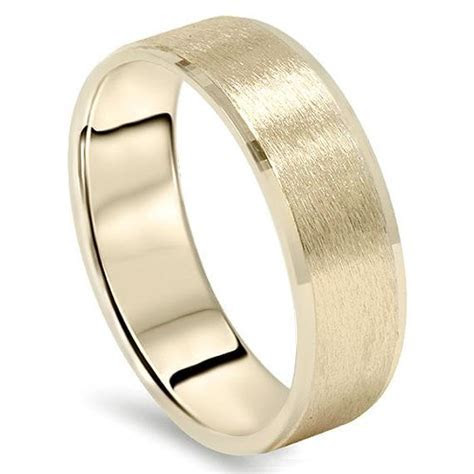 Mens Yellow Gold Wedding Band 14 Karat Ring 6MM Flat