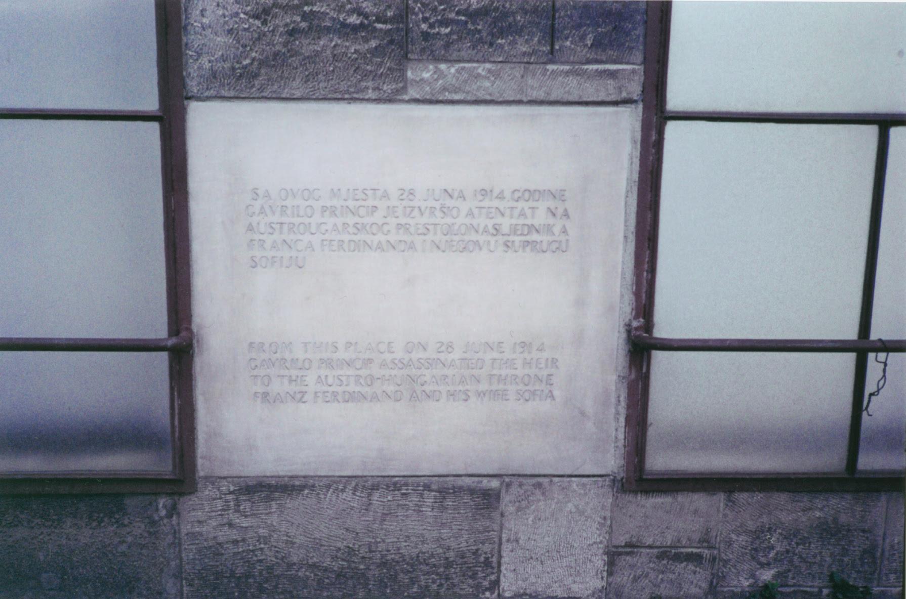 Assassination memorial plaque in Sarajevo