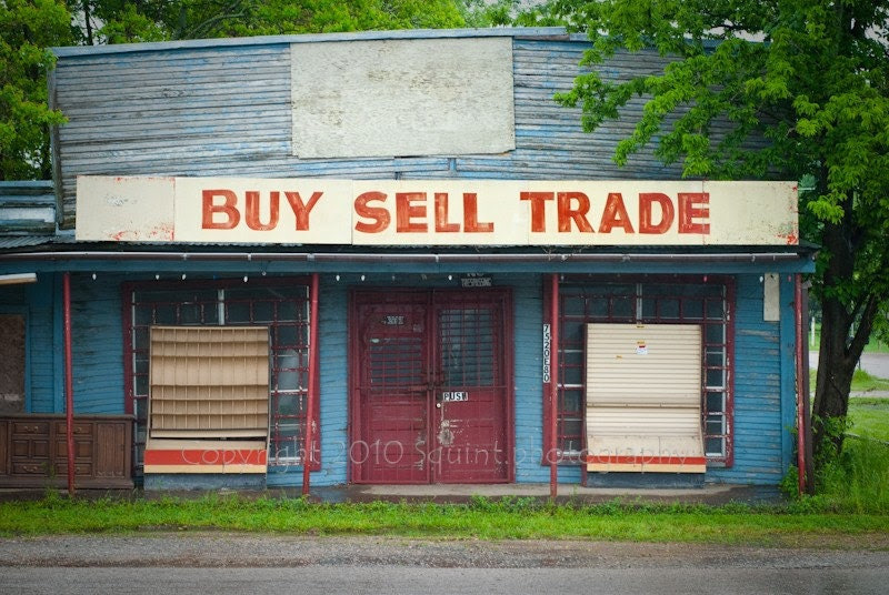 Urban Decay, General Store Photo, Rural Scene, Abandoned Country Store, Ghost Town, Color Photo, Red and Blue, Storefront Sign, 8 x 12 Print - Squintphotography