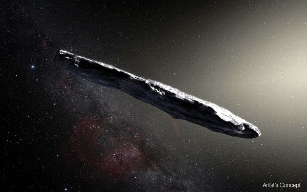 An artist's concept of 1I/2017 U1 ('Oumuamua) traveling through deep space.