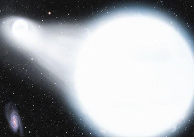 Rappresentazione artistica di una veloce nana bianca che potrebbe essere sopravvissuta all'esplosione della compagna (fonte: DAVID A. AGUILAR/ Harvard-Smithsonian Center for Astrophysics) © Ansa