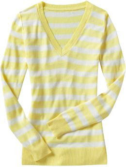 Old Navy Rugby-Stripe V-Neck Sweaters