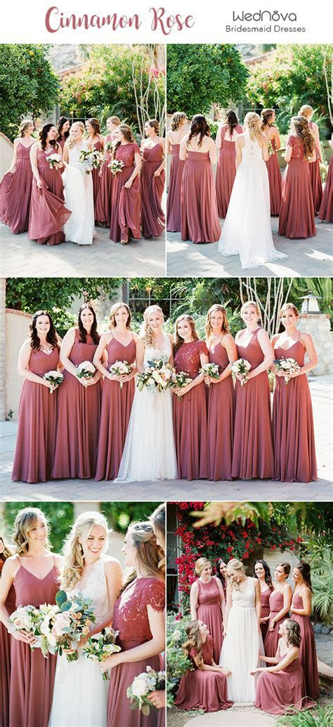 10 Trendy & Romantic Cinnamon Rose Bridesmaid Dresses and