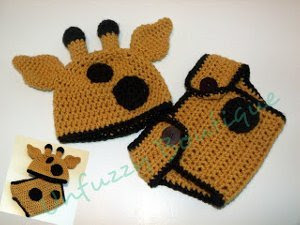 Giraffe Hat and Diaper Cover Set