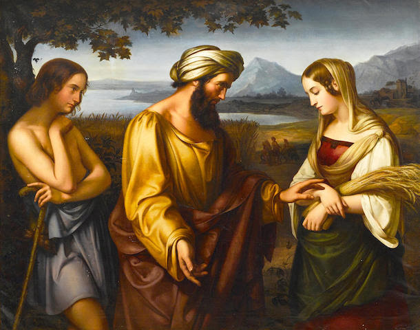Eduard (Carl Friedrich E.) Holbein (German, 1807-1875) Ruth and Boaz 54 1/2 x 68in (138 x 172.5cm)