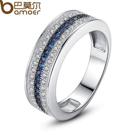 Bamoer Luxury Platinum Plated Women Wedding Ring in Micro