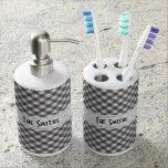 Personalize: Black and White Gingham Check Toothbrush Holder