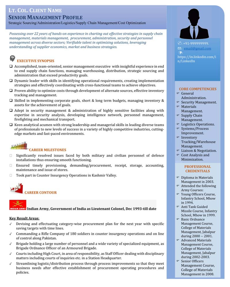 Senior Management Profile Visual Resume