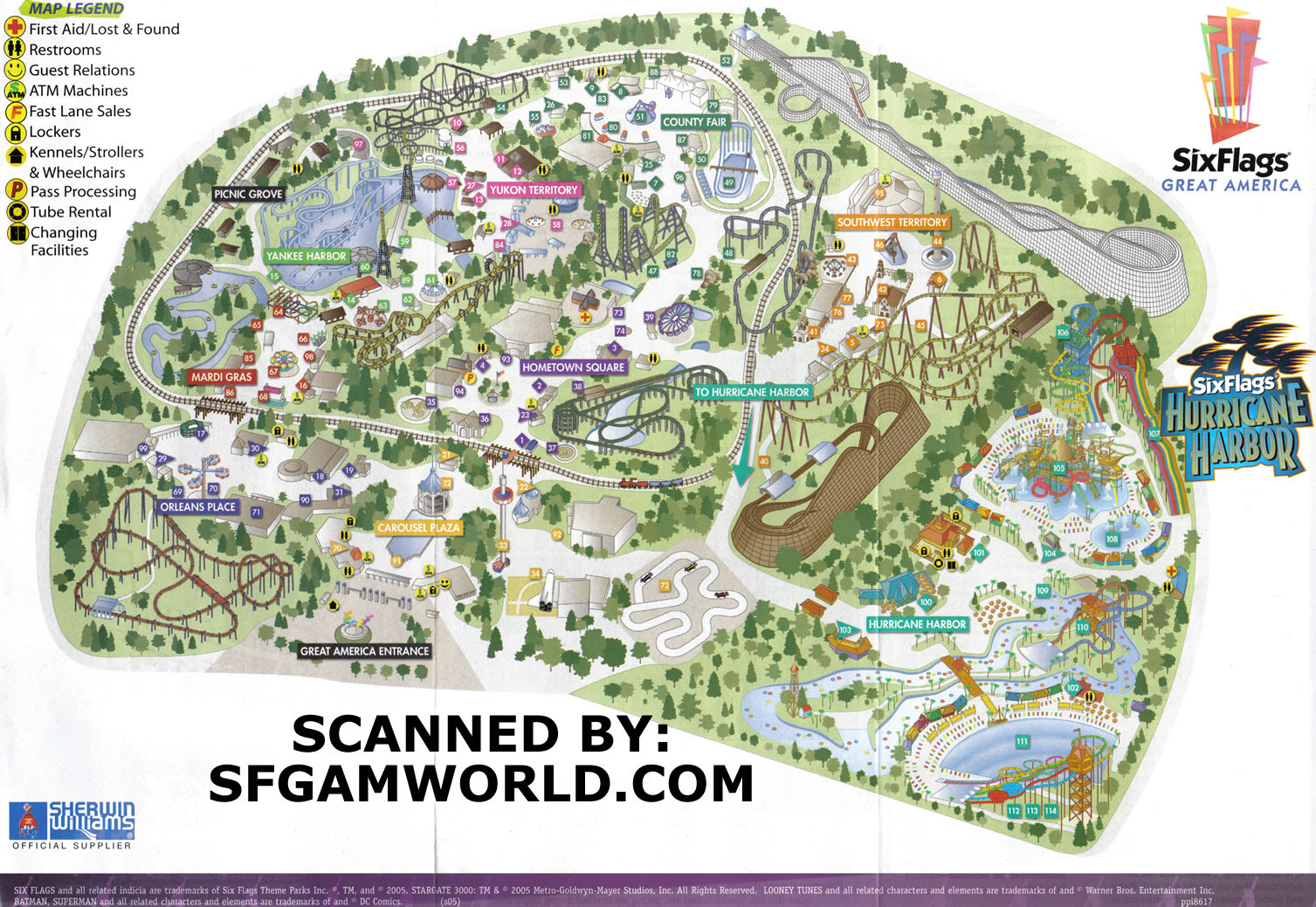 six flags new orleans map Amusement Parks Collectibles Il Gurnee Six Flags Great America six flags new orleans map